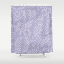 Purple Damask Fern Leaf Fancy Scroll Pattern Shower Curtain