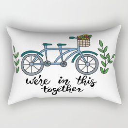 We're In This Together Tandem Bicycle  Rectangular Pillow