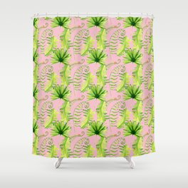 Pastel pink green hand painted tropical leaves pattern Shower Curtain