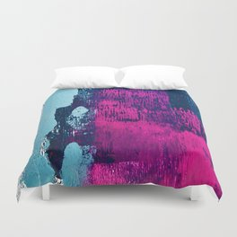 Early Bird: A vibrant minimal abstract piece in blues and pink by Alyssa Hamilton Art Duvet Cover