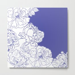 FLORAL IN BLUE Metal Print