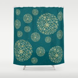 Snowflakes Teal And Golden #society6 #buyart Shower Curtain