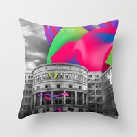 soviet Throw Pillows featuring Soviet Architecture by Wer Michèlle