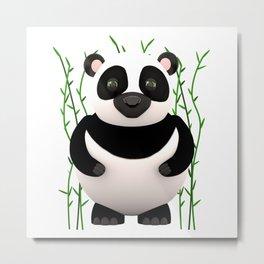 Cartoon Panda Among Bamboos Metal Print