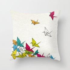 cranes origami Throw Pillow