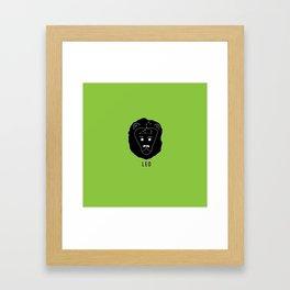 LEO Horoscope Lion Design - Light Green Framed Art Print