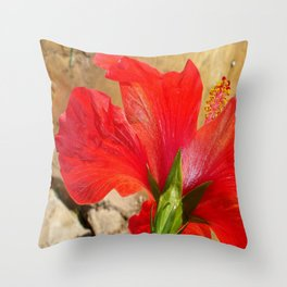 Back View of A Beautiful Bright Red Hibiscus Flower Throw Pillow