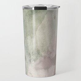 Abstract blush pink green white watercolor brushstrokes Travel Mug