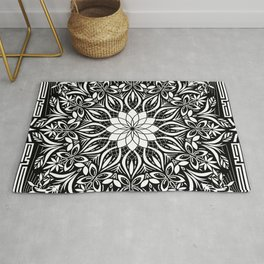 Psychedelic Mandala Geometric Line Art Illustration Rug