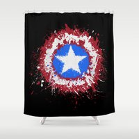 shield Shower Curtains featuring The Shield by DanielBergerDesign