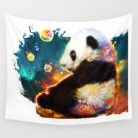 pandas Wall Tapestries featuring pandas dream by ururuty