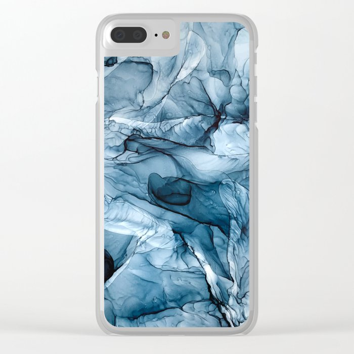 Churning Blue Ocean Waves Abstract Painting Clear iPhone Case