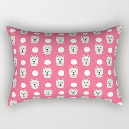 Highland Terrier polka dots pink funny dog gift customizable gifts for dog lover dog person presents Rectangular Pillow