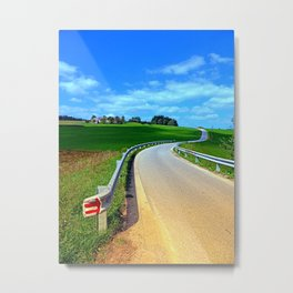 Country road into amazing panorama | landscape photography Metal Print