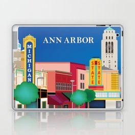 Ann Arbor, Michigan - Skyline Illustration by Loose Petals Laptop & iPad Skin