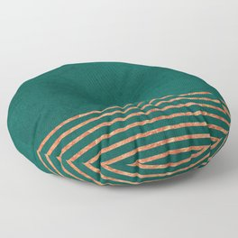 EMERALD COPPER GOLD BRASS STRIPES Floor Pillow