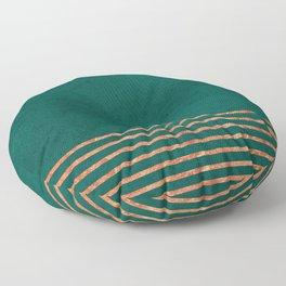 EMERALD COPPER GOLD BRASS STRIPES Floor Pillow