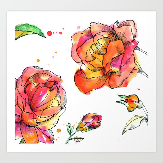 Inky Floral Art Print