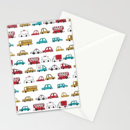 Cars trucks buses city highway transportation illustration cute kids room gifts Stationery Cards