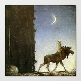 """Leap the Elk"" Watercolor by John Bauer Canvas Print"