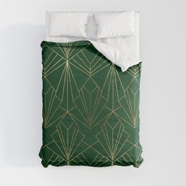 Art Deco in Emerald Green - Large Scale Comforters
