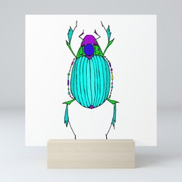 Egyptian Scarab Beetle Turquoise Mini Art Print