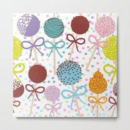 seamless pattern Colorful Sweet Cake pops set with bow on white polka dot background Metal Print