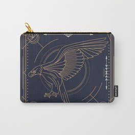 Eagle Full Size Side Gold White on Black Background Carry-All Pouch