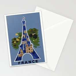 Vintage France Eiffel Tower Travel Poster Stationery Cards