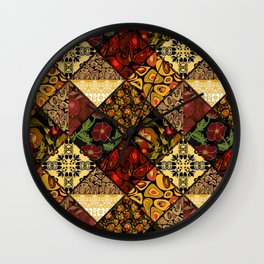 Rustic colorful patchwork. Wall Clock