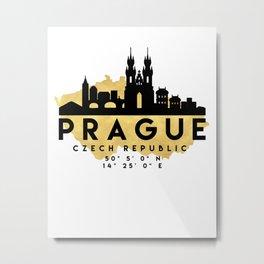 PRAGUE CZECH REPUBLIC SILHOUETTE SKYLINE MAP ART Metal Print