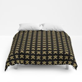 Replica of Pre-Columbian Pectoral Pattern in Gold Leaf on Black Comforters