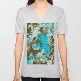 tropical silhouette with orchids and palms in sky blue Unisex V-Neck