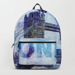 London Tower Bridge Mixed Media Art Backpack