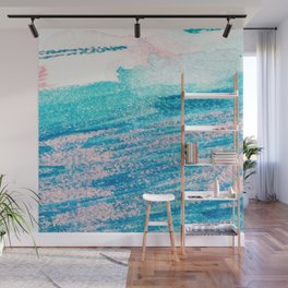 Abstract hand painted blue teal pink watercolor brushstrokes Wall Mural