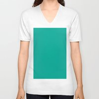 persian V-neck T-shirts featuring Persian green by List of colors
