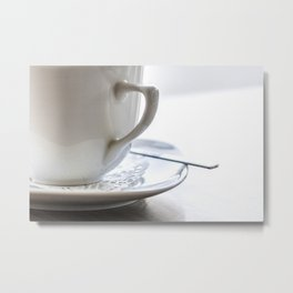 Ceramic cup of coffee on the table Metal Print
