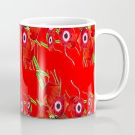 RED SPRING ANEMONE  GARDEN ABSTRACT FLORAL Coffee Mug