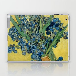Still Life: Vase with Irises Against a Yellow Background Laptop & iPad Skin