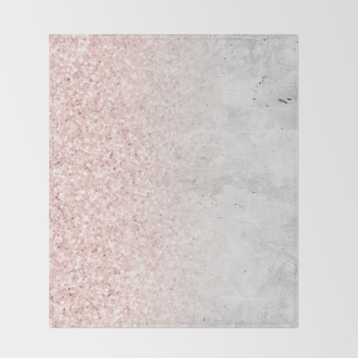 Blush Pink Sparkles on White and Gray Marble Throw Blanket