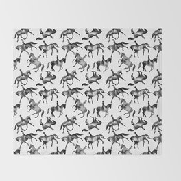 Dressage Horse Silhouettes Throw Blanket