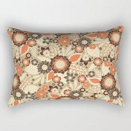 Retro Orange, Brown & Cream 1970s Floral Pattern Rectangular Pillow