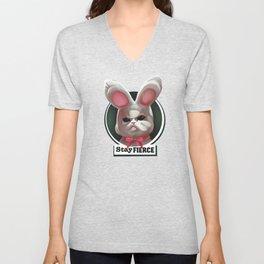 Stay fierce cute grumpy white plushy rabbit Unisex V-Neck