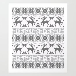 Christmas black and white, the embroidered pattern. Art Print
