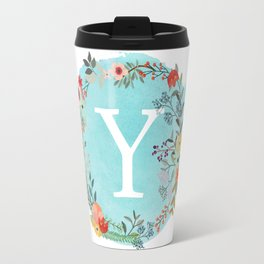 Personalized Monogram Initial Letter Y Blue Watercolor Flower Wreath Artwork Travel Mug