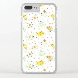 Whimsical Honeybees on White | Hives Honeycomb Clover Flowers Clear iPhone Case