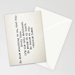 """He does something to me, that boy..."" -Markus Zusak Stationery Cards"