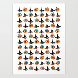 Witch Hats, pumpkins and eyes Art Print