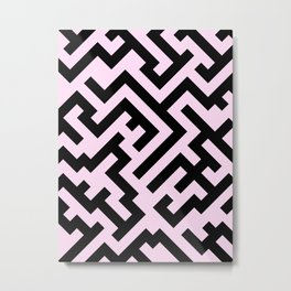 Black and Pink Lace Pink Diagonal Labyrinth Metal Print