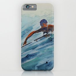 African American Surfers, Honolulu, Hawaii landscape painting by Fred Soldwedel iPhone Case